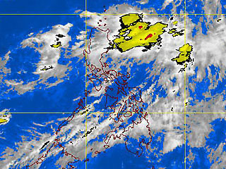 A PAGASA-DOST satellite image at 2 a.m. Thursday shows a potential storm 250 km northeast of Batanes threatening parts of Northern Luzon. <b>GMA News</b>