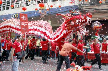 Dragon dance in Chinatown for the Chinese New Year