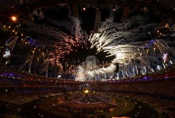 Fireworks display during the Olympics opening ceremony