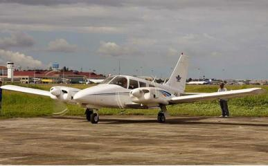 File photo of Piper Seneca plane carrying Robredo that crashed in Masbate