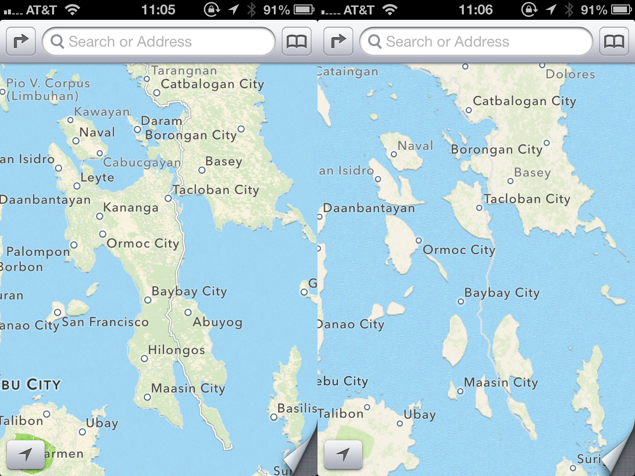 3607274eec5db Entire Philippine island disappears in iOS6 map glitch | SciTech ...
