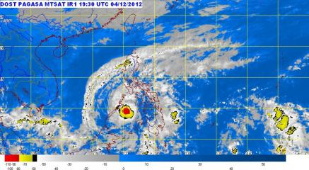 Satellite image of Typhoon Pablo 