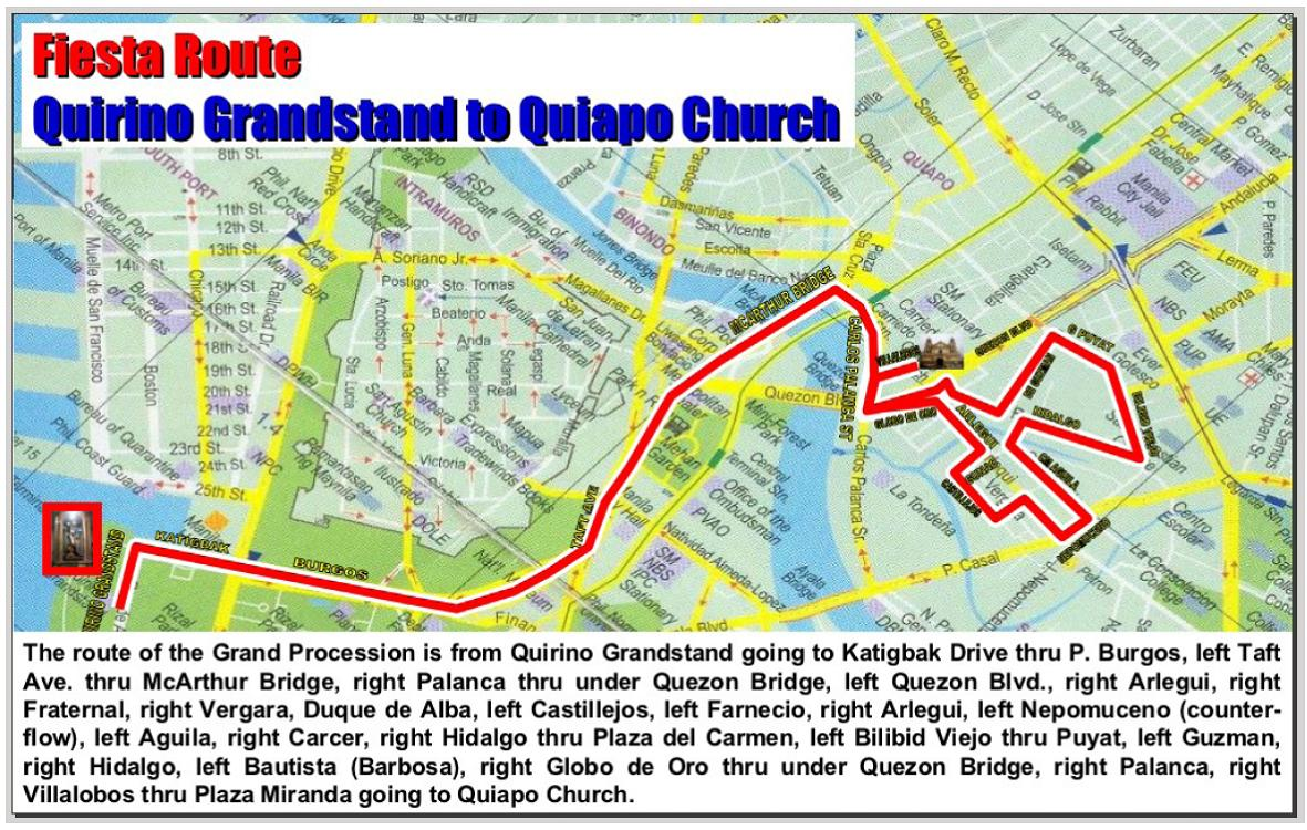 Procession Route Of The Black Nazrene Image From Luneta To Quiapo