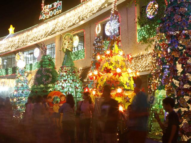 earth friendly christmas decor on display outside city hall
